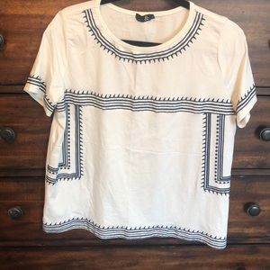 Tops - White and Navy Detail Top